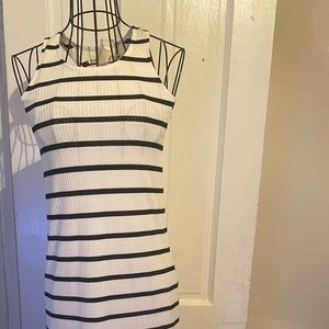 Never worn! Lil Girl white/black strip maxi dress